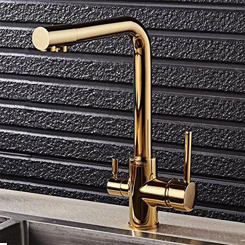 DDY Sink faucet hot and cold kitchen water purifier double faucet rotating water gold , gold