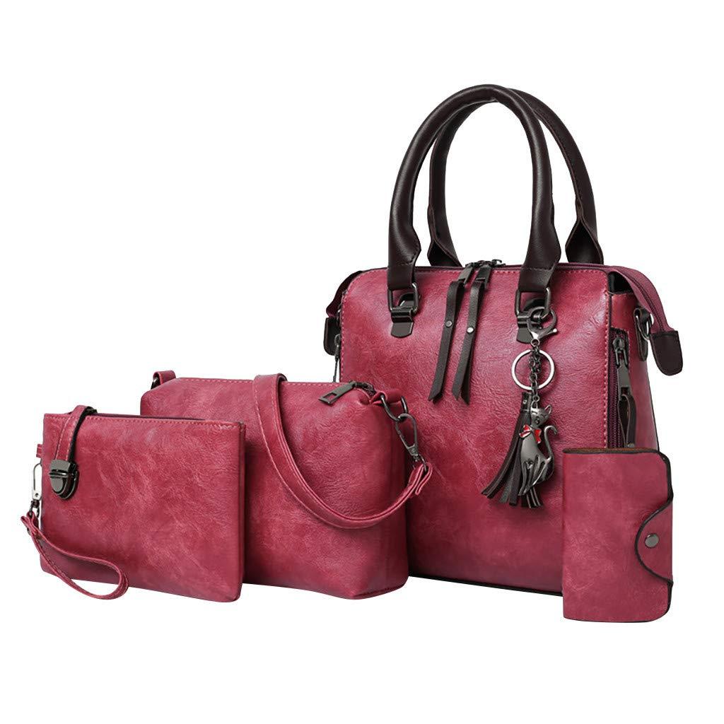 4 Pcs Bags,AgrinTol Women Pattern Solid Handbag+Crossbody Bag+Messenger Bag+Card Package