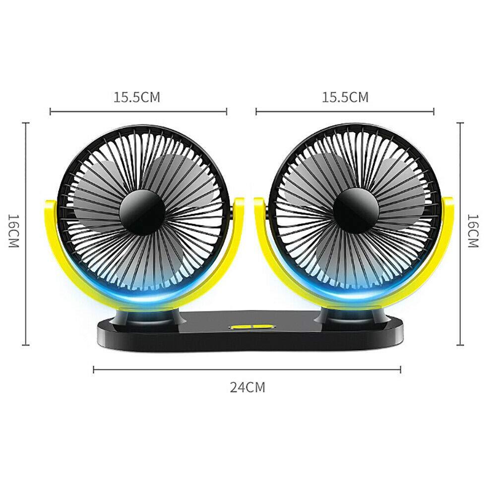 MASO 2X USB Rechargeable Electric Fan 360°Rotatable Air Fans 12V 24V Mini Portable Air Circulator for Car/Truck/Home/Office/Desk(Black)