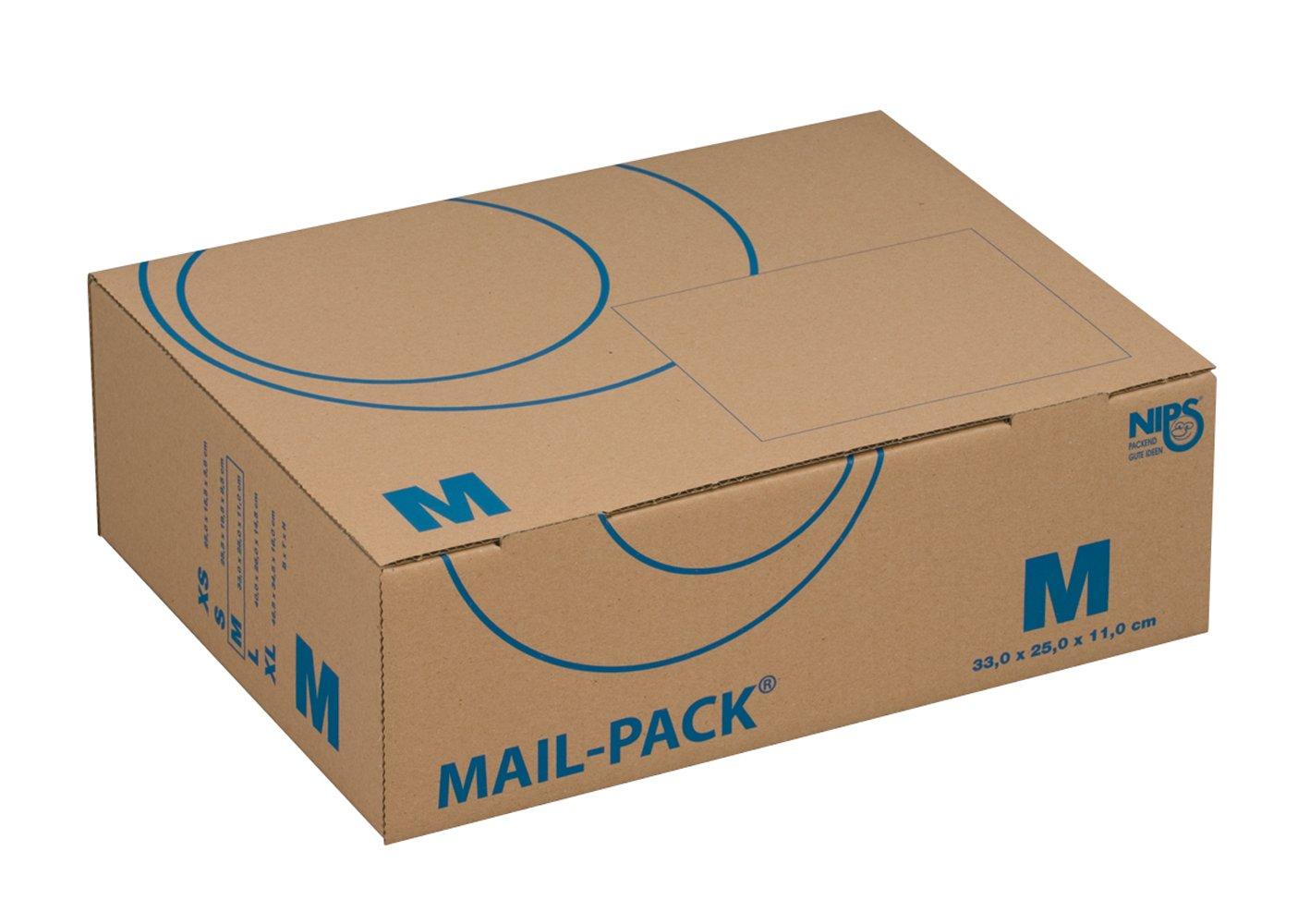 Nips - Scatola per spedizione postale, 330 x 250 x 110 mm, formato medio, confezione da 20, colore: Marrone 141312162