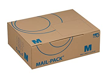 Nips 141312162 Mail-Pack Basic - Caja para envíos, 20 unidades, tamaño mediano, 330 x 250 x 110 mm, color marrón y azul: Amazon.es: Oficina y papelería