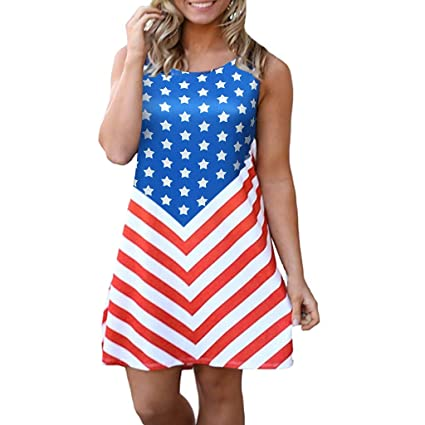 538cad04c8 Independence Day Dress Women Sleeveless Crewneck T Shirt Dresses USA Flag  Print Stars Red and White
