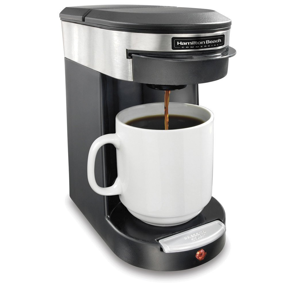 Hamilton Beach SMALL APPLIANCES 1030390 Stainless Steel/Black Beach Single Cup Hospitality Coffeemaker with 3-Minute Brew Time