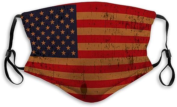 Gooeyokoi Mundschutz Gr/üne Linie der amerikanischen Flagge Waschbar Atmungsaktive Staubdicht Schutz Bandana mit Filter