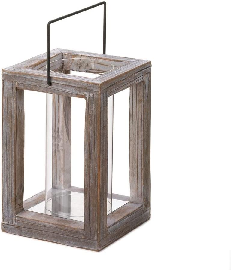 Rustic Weathered Look Country Style Indoor Outdoor Wooden Candle Lantern