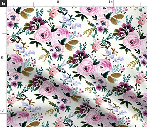 Pink Cottage Chic Crystal - Spoonflower Floral Fabric - Victoria Cream Victorian Pink Green Cottage Chic Flower Watercolor Vintage Print on Fabric by The Yard - Denim for Sewing Bottomweight Apparel Home Decor Upholstery