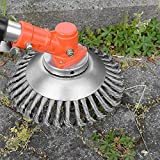 charmsamx Trimmer Head Cutter, Grass Steel PRO Blades Razors 8' Heavy Duty Round Trimmer Head Replacement Brush Cutter Kit Mower Part Accessory with 1' Hole Garden Tool Accessories (6')