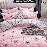 KFZ Bed SET (Twin Full Queen King size) [duvet cover, Flat sheet, pillow cases] No comforter FD Flower Leaves Love Green Plants design for Kids Adults Teens Sheet Set (Taste Sweet, Pink, Twin 59''x79'')