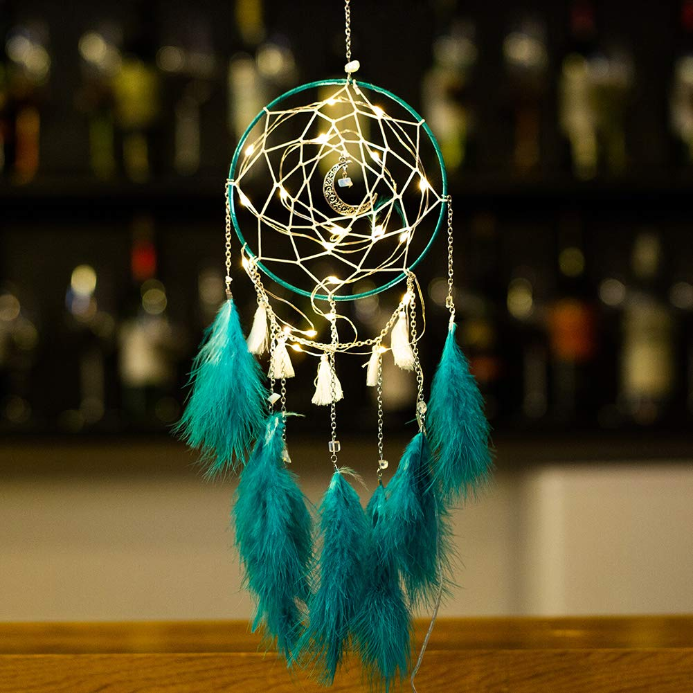 Meticci LED Dream Catcher, LED Dream Catchers, Dream Catcher, Dream Catchers Handmade Traditional Feather Hanging Home Wall Decoration Décor Ornament Craft Native American Style (Evergreen)