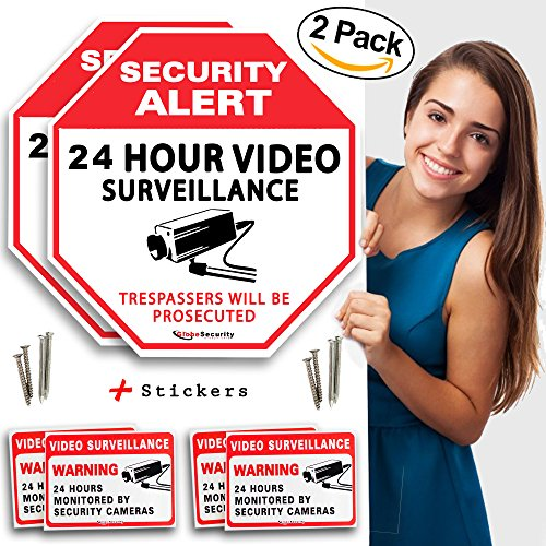 Security Video Surveillance Sign for the Safety and Security of your Family (pack of 2 sign) with Warning Stickers and Installation Hardware by (Digital Scout Video)
