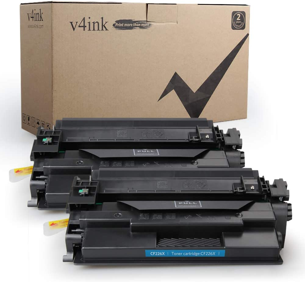 V4ink 2-Pack Compatible Toner Cartridge Replacement for HP CF226X 26X 26A Toner High Yield for use with HP Laserjet Pro M402dn M402n M402dw MFP M426fdw M426fdn Printer