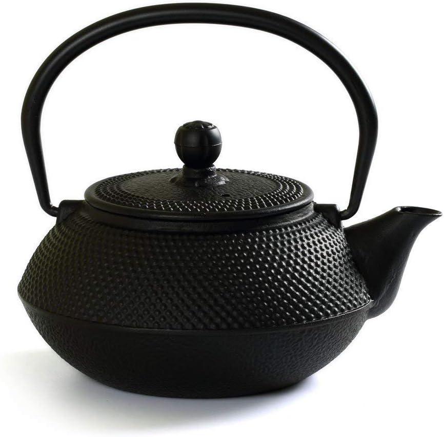 Black Teapot Holder 12cm Dia. Tea Kettle Trivet Cast Iron Fine Hobnail