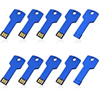 10PCS 4GB USB Flash Drive Metal Key Design USB Flash Drive Metal Key Shaped Memory Stick USB 2.0 Blue 4G