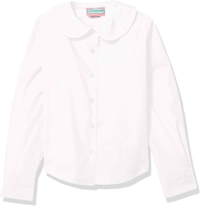 Classroom School Uniforms Girls' Big Long Sleeve Stretch Peter Pan Blouse: Clothing