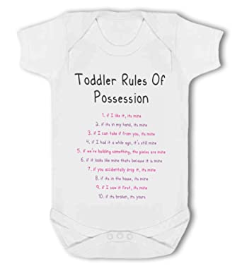Charming Toddler Rules Of Possession Pink/purple Funny   Baby Vest   0 3 Months