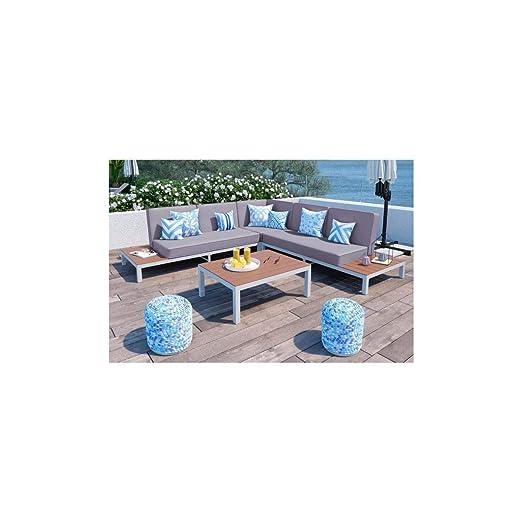 LOUNGITUDE Salon de Jardin avec canapé d\'angle 5 Places en ...