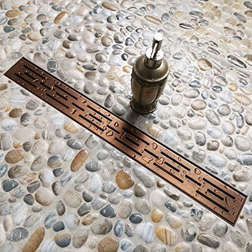 Finish Bronze Dark - Neodrain 36-In Rectangular Linear Shower Drain with Brick Pattern Grate, Brushed 304 Stainless Steel Bathroom Floor Drain,Oil Rubbed Bronze finish,Shower Floor Drain
