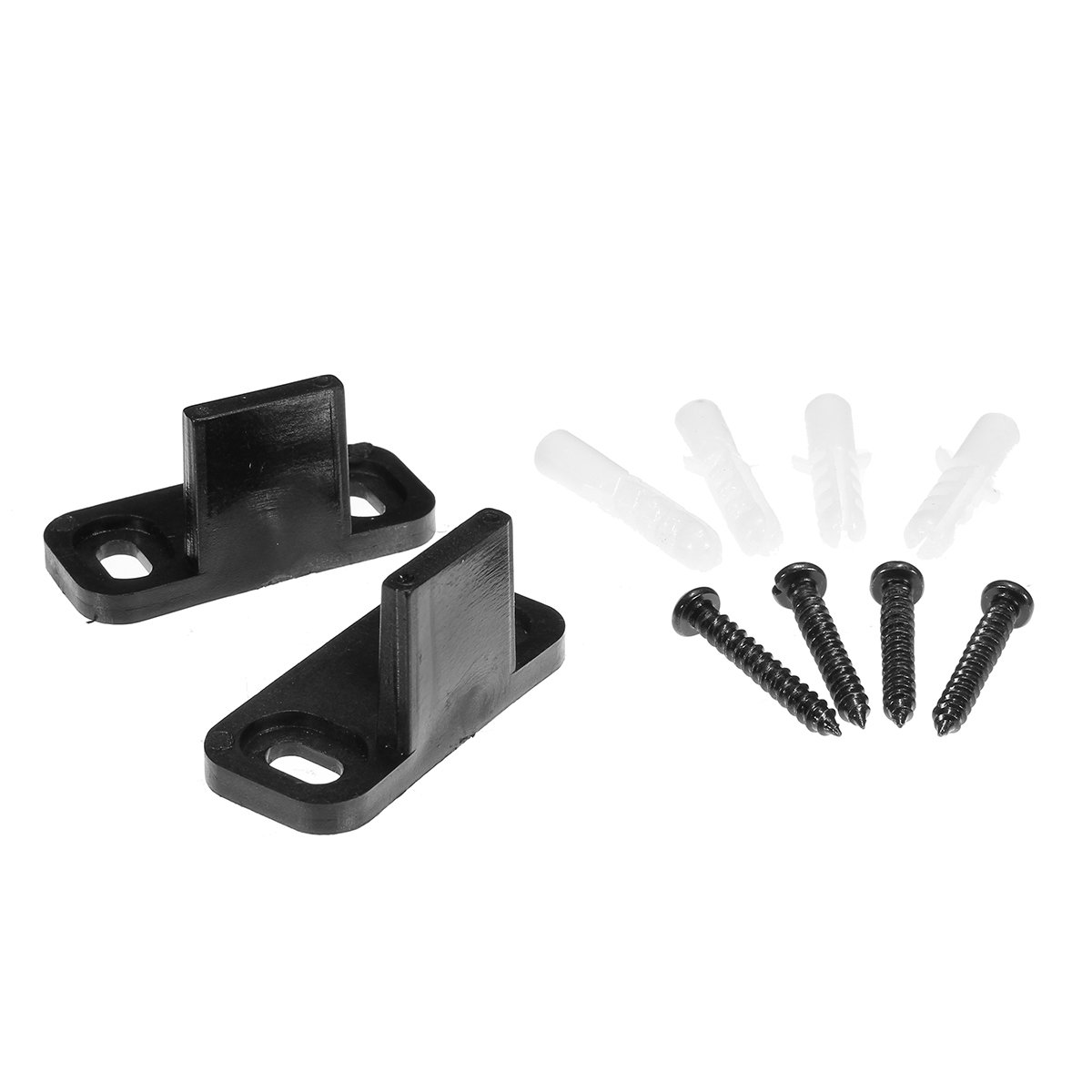 2PCS Black Adjustable Bottom Floor Guide Clip For Sliding Barn Door Hardware with 4 Screws 45x20x23mm