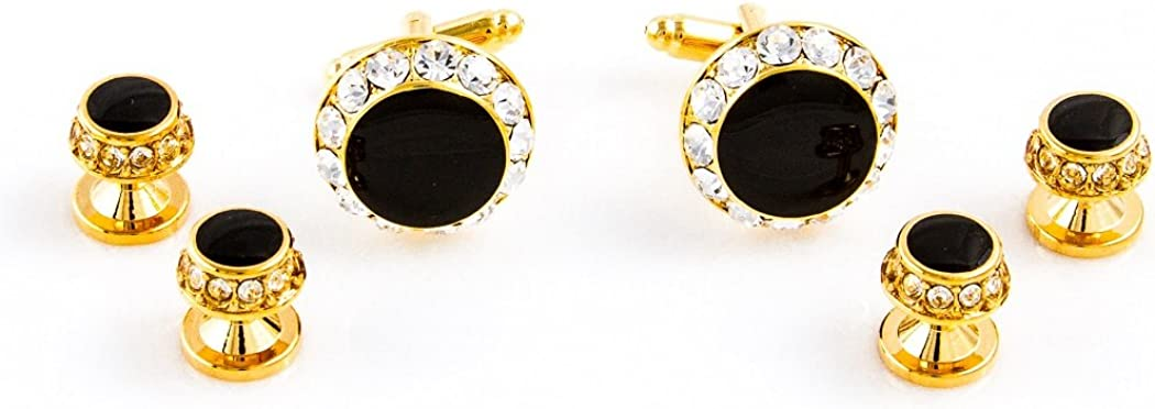 MRCUFF Black Onyx Round Crystal Tuxedo Cufflinks & Studs Set in a Presentation Gift Box & Polishing Cloth
