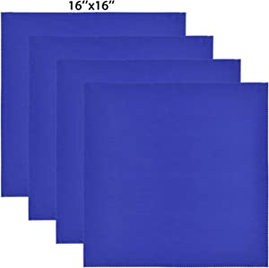 Wisdompro Extra Large 4-Pack Microfiber Cleaning Cloth For Laptop, LCD TV, Computer Screen, Monitor, Tablet, Camera Lens, Glass, Lenses, Phone, iPhone, iPad, other Delicate Surface - Blue (16x16 Inch)
