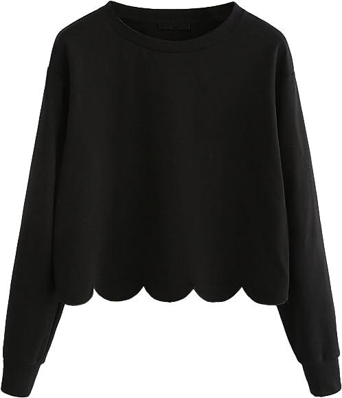 7b4aa4f74b4 Romwe Women's Casual Long Sleeve Scalloped Hem Crop Tops Sweatshirt Black XS