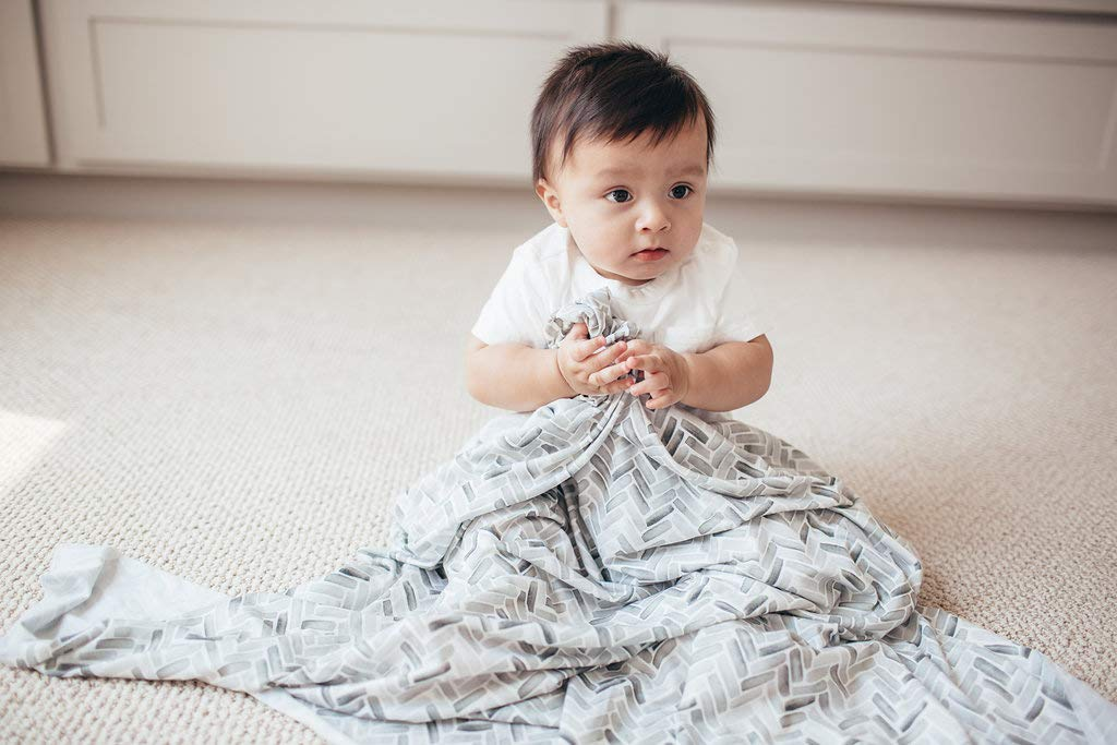 """Large Premium Knit Baby Swaddle Receiving Blanket""""Alta"""" by Copper Pearl"""