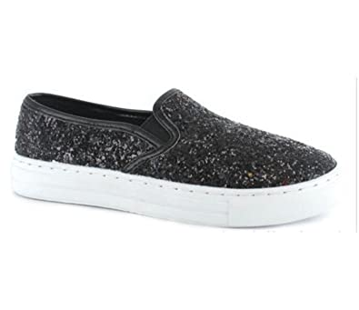 Ladies Women Flat Slip On Glitter Sparkly Plimsoles Pumps Skaters Trainers Size