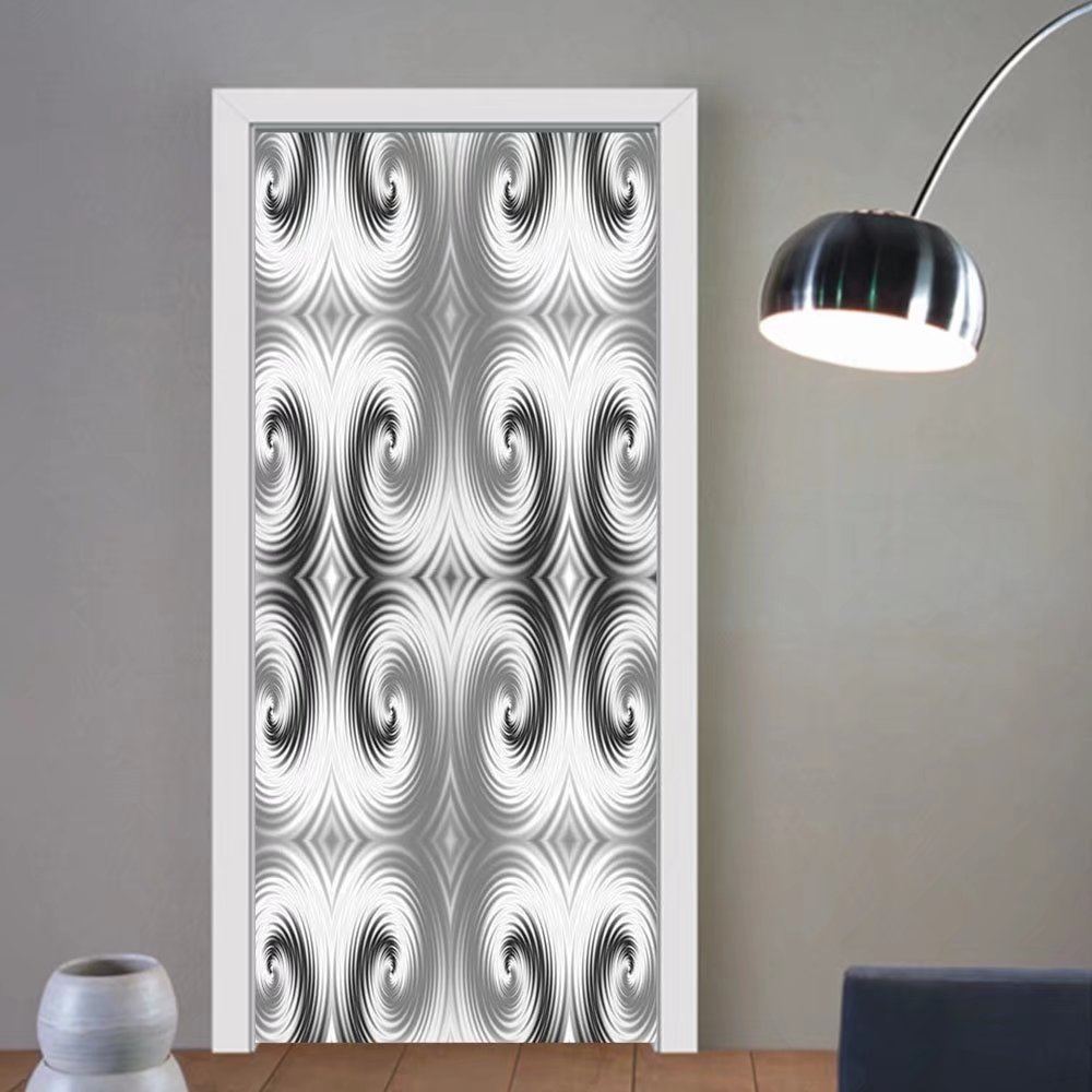 Gzhihine custom made 3d door stickers Spires Decor Symmetric Spiral Forms with Hallucinating Distracting Geometric Effects Art Grey White For Room Decor 30x79