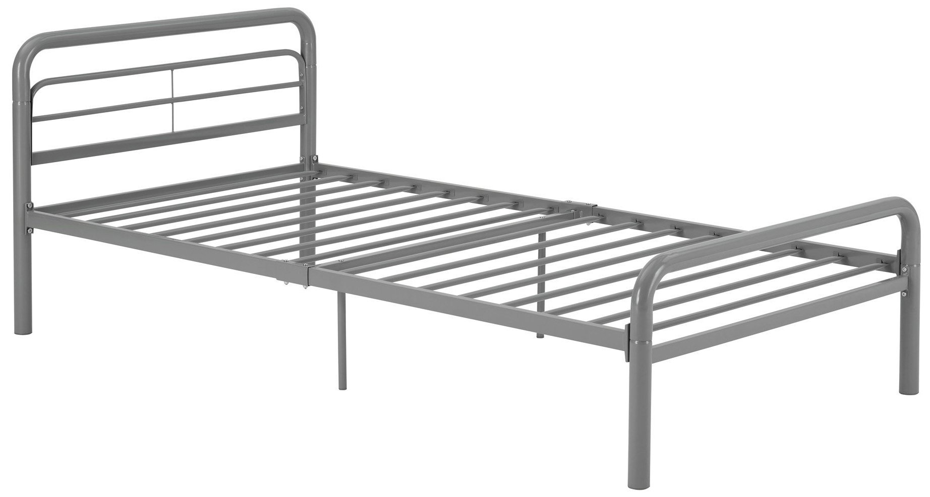 DHP Metal Bed with Round Tubing, Modern and Simple Design, Twin, Silver