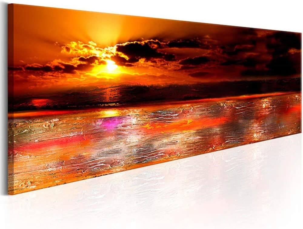 Yolada FAI DA Te Diamond Painting Kit Completo 5D DIY Grandi Dimensioni Pittura Diamante Red Sunset Peaceful Sea Serface su Tela Ricamo Strass Dipinto Punto Croce casa Deco,Trapano Rotondo,30X60cm