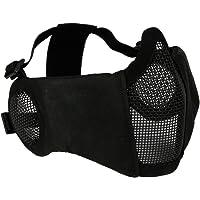Táctica de media cara máscara de malla con oído cubierta de Airsoft CS inferior de protección Guardia para Paintball BBS disparo