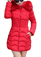 Gnao Women Stylish Waisted Faux Fur Buttons Hooded Long Down Jacket Coat
