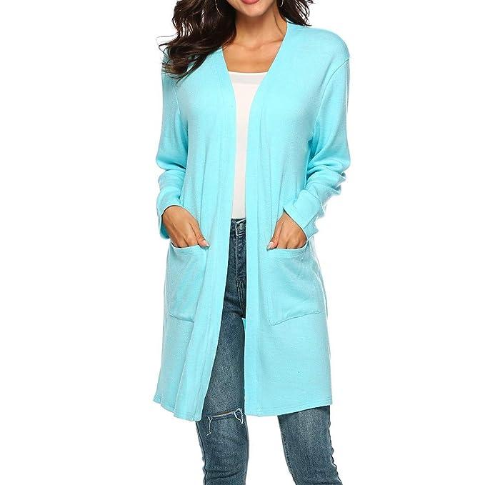 Luckycat Mujeres Otoño Bolsillos Casuales de Manga Larga Mantón Irregular Blusa Superior Prendas de Abrigo (