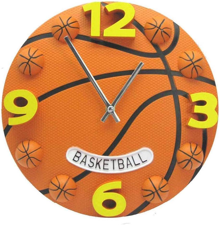 Valentoria 12 inch Basketball Football Wall Clock Bedroom Livingroom Alarm Clock Birthday Chritmas Gifts Present for Kids Son Boys Baby Child NBA Basketball Fans