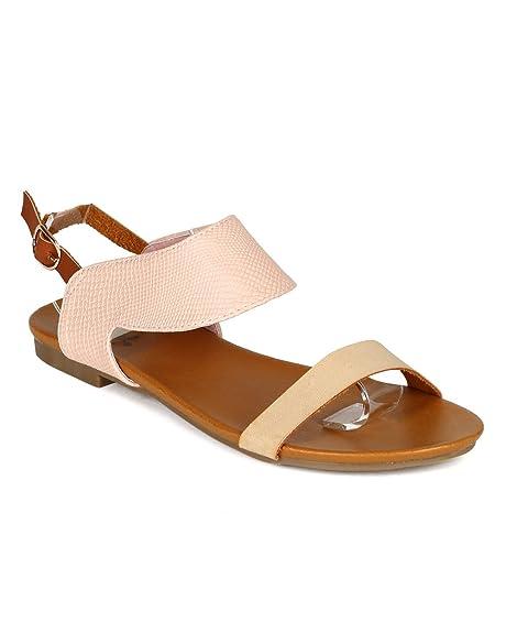 786216c2cf0 Qupid Women Leatherette Open Toe Reptile Skin Slingback Ankle Cuff Flat  Sandal CA42 - Nude Leatherette