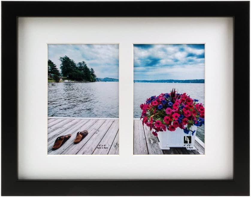 Black with White Mat BorderTrends Echo 8.5x11-Inch Double Opening Collage Photo Frame