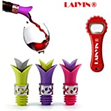 Wine Bottle Stopper Pourer Stopper Pourer for Glass Wine, Cooking Oil, Liqueur, Flavoring Bottles (Purple Pink Green)- Set of 3 and 1 Bottle opener