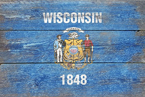 Rustic Wisconsin State Flag (24x36 SIGNED Print Master Giclee Print w/ Certificate of Authenticity - Wall Decor Travel Poster)