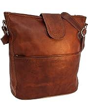 """Handbag Leather Gusti nature""""Jacqueline"""" Shoulder Bag Shopper Leather Bag Ladies Vintage Look Natural Leather Brown"""