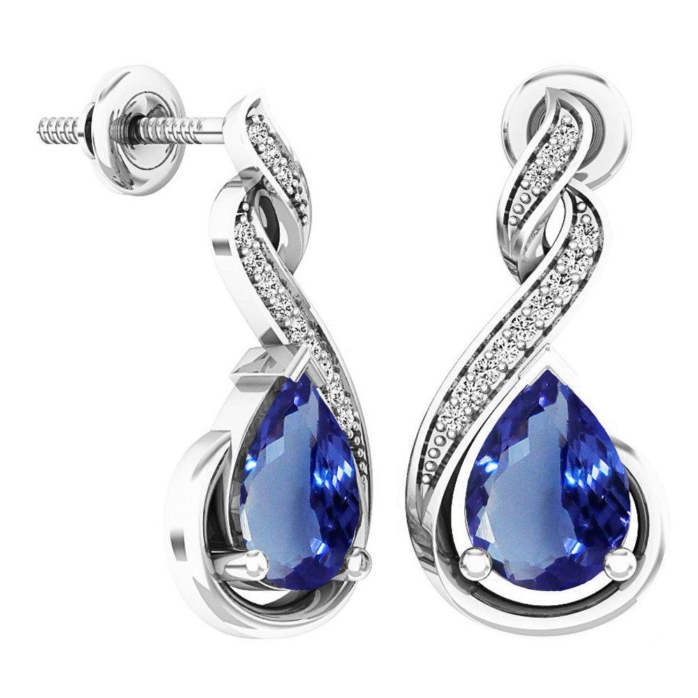 Sterling Silver 8X6 MM Each Pear Tanzanite & Round Diamond Ladies Infinity Dangling Earrings