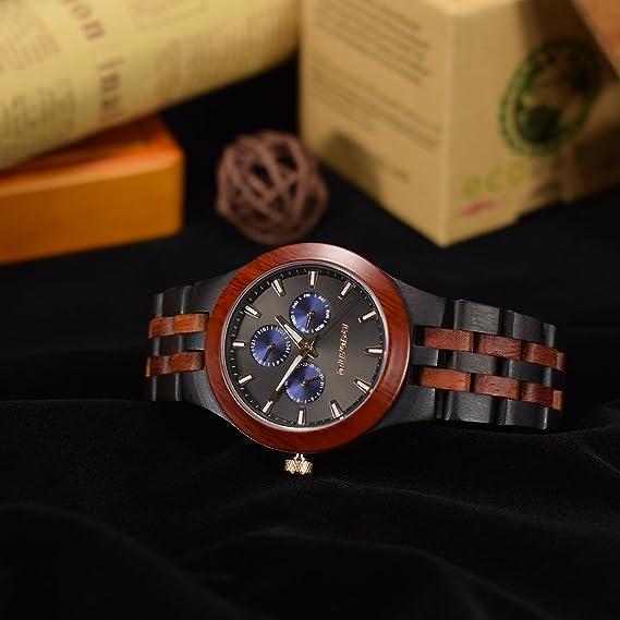 Reloj Madera, BEDATE W145A Relojes Hombre de Madera con Analógico Cuarzo Mecanismo (Black & Red Sandalwood): Amazon.es: Relojes