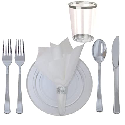 360 Piece Disposable Plastic Wedding Tableware Dinnerware Set. Silver Rimmed Dinner and Dessert Plates  sc 1 st  Amazon.com & Amazon.com: 360 Piece Disposable Plastic Wedding Tableware ...