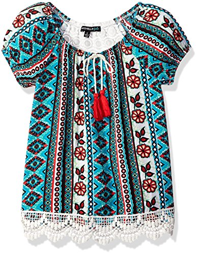 My Michelle Big Girls' Short Sleeve Peasant Blouse with C...