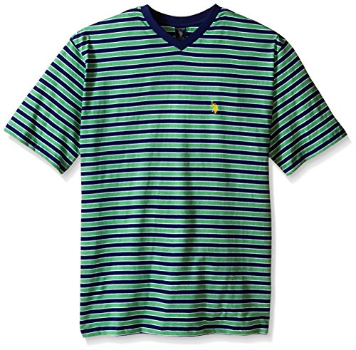 [U.S. Polo Assn.. Men's Big-Tall Candy Striped V-Neck T-Shirt, Grass Heather, 2X] (Pugsley Addams Costume)