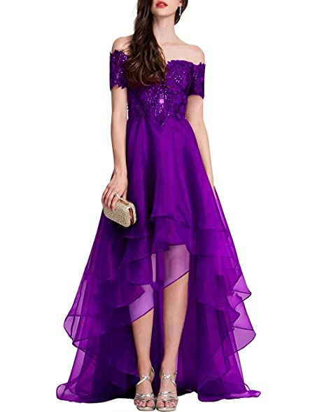 Sexy High-Low Evening Dresses A-Line Princess Off-the-Shoulder Asymmetrical