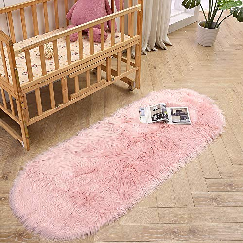 LEEVAN Super Soft Bedroom Rug Faux Fur Wool Oval Carpet Fluffy Shaggy Kids Play Mat Girls Runner Area Rug for Sofa Floor or Living Room Accent Home Decorate(Pink,2ft x 5.3ft) ()