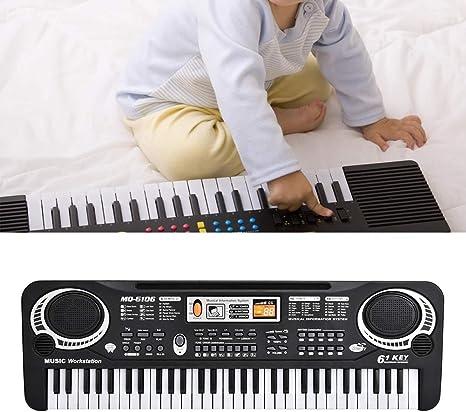 Jingyi Piano eléctrico, 61 Teclas Teclado Digital eléctrico Piano Instrumentos Musicales Juguete para niños con micrófono Enchufe de la UE, Piano ...