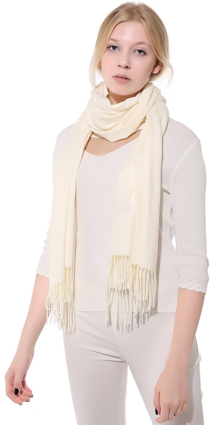 Anboor mujer Cashmere Feel señoras del mantón sólido de la manera bufanda caliente suave Envolver con borlas