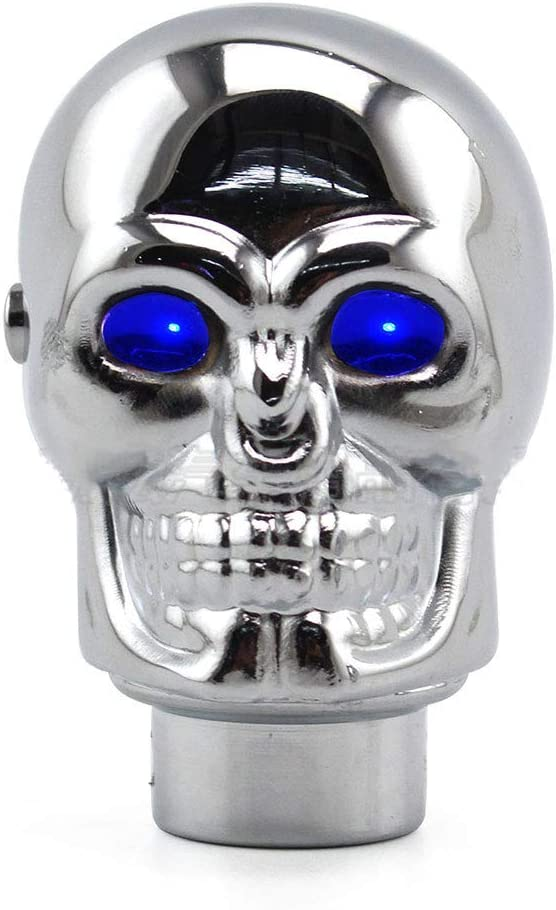 SFASTER Automatic Gear Shift Knob Skull Chrome Gear Shift Knob Automatic Transmission Stick Shifter Lever Head with Blue Led Light