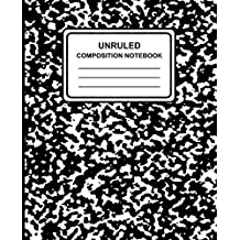 """Unruled Composition Notebook: Marble (Black), 7.5"""" X 9.25,"""" Unruled Notebook, 100 Pages, Professional Binding"""